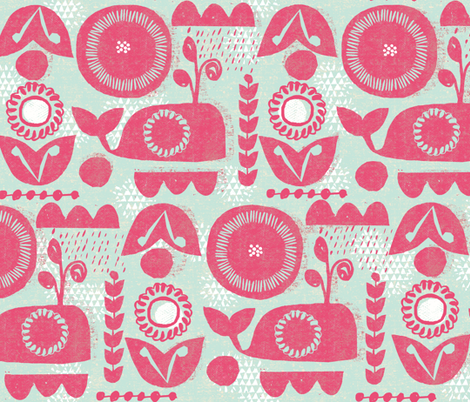 folk whale-mint and red fabric by ottomanbrim on Spoonflower - custom fabric