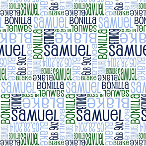 Personalised Birth Details - Blue Navy Green