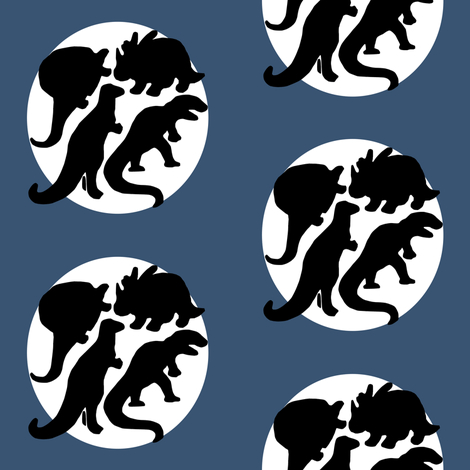 dino four! blue fabric by gasponce on Spoonflower - custom fabric