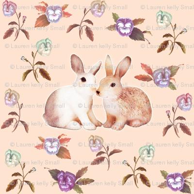 Bunnies in Love Garden, Peach Floral