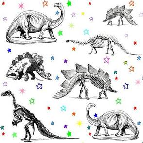Dinosaur Skeletons on Rainbow Stars, Black and White Dino