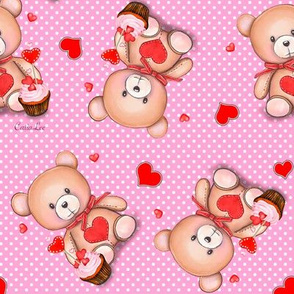 Teddy Bear pink polka dot M