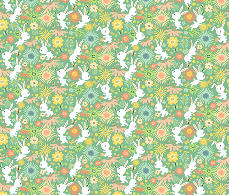 Meadow Bunnies: Marshmallow Mint fabric by sheri_mcculley on Spoonflower - custom fabric