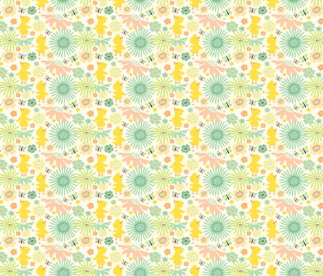 Meadow Peeps: Cream fabric by sheri_mcculley on Spoonflower - custom fabric