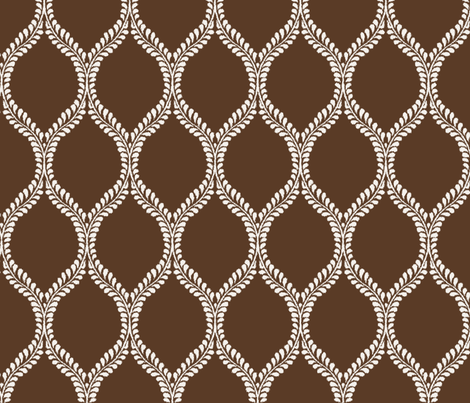 Regal Leaves Chocolate Inversed fabric by horn&ivory on Spoonflower - custom fabric