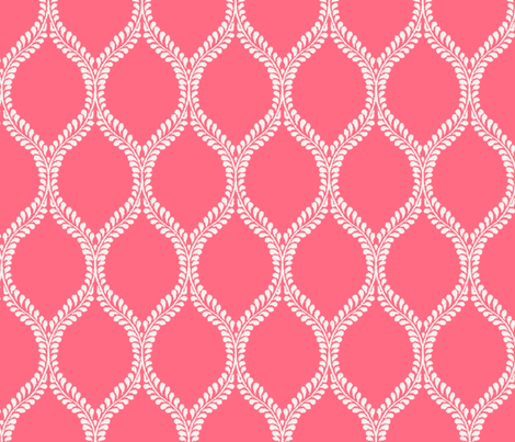 Regal Leaves Coral Inversed fabric by horn&ivory on Spoonflower - custom fabric