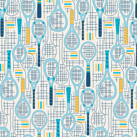 Designer Tennis Racquets Blue Set 2 fabric by mag-o on Spoonflower - custom fabric
