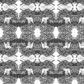 B&W Abstract Elephant Peaks Kaleidoscope