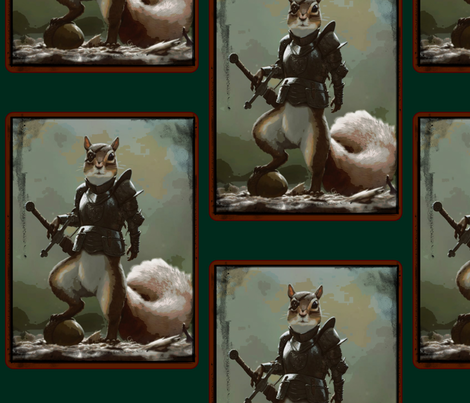 Sir Nuts; Squirrel of Chivalry.  fabric by walkwithmagistudio on Spoonflower - custom fabric