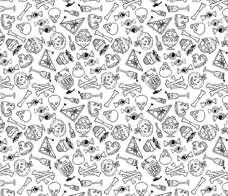 Halloween Jumble -white fabric by blacklilypie on Spoonflower - custom fabric