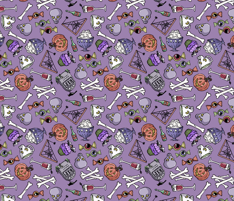 Halloween Jumble -faded purple fabric by blacklilypie on Spoonflower - custom fabric