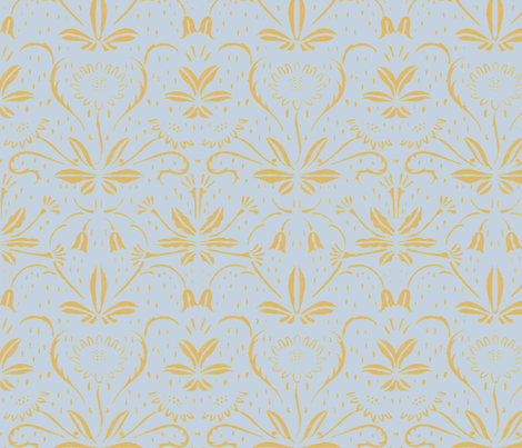 Sunflowers ~ Rococo Gold on Versailles Fog fabric by peacoquettedesigns on Spoonflower - custom fabric