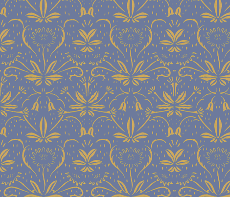 Sunflowers ~ Rococo Gold on Chevalier fabric by peacoquettedesigns on Spoonflower - custom fabric