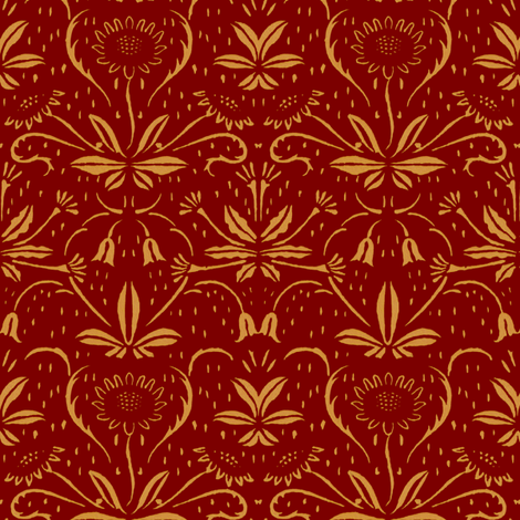 Sunflowers ~ Rococo Gold on Claret fabric by peacoquettedesigns on Spoonflower - custom fabric
