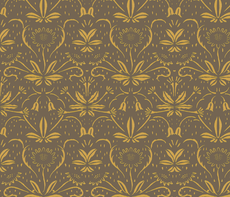 Sunflowers ~ Rococo Gold on Rocaille fabric by peacoquettedesigns on Spoonflower - custom fabric