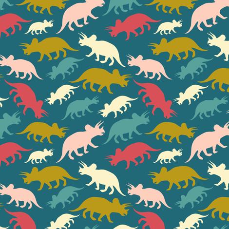 Tiny Dinosaurs - Teal fabric by elizabeth on Spoonflower - custom fabric