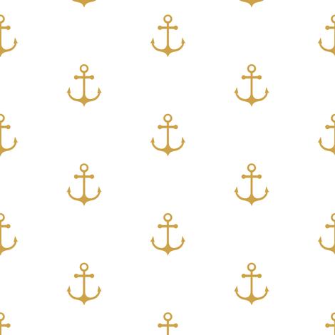 Anchor - Gold fabric by kimsa on Spoonflower - custom fabric