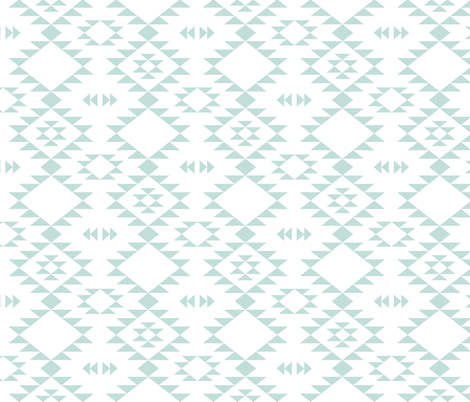 Navajo - Aqua white fabric by kimsa on Spoonflower - custom fabric