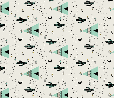 Teepee Mint - Vertical fabric by kimsa on Spoonflower - custom fabric