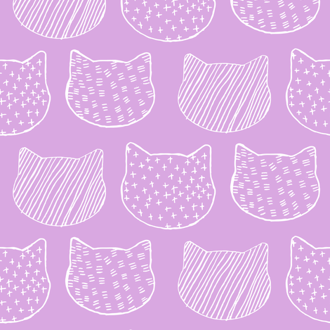 Cat Sketch in Orchid fabric by emilysanford on Spoonflower - custom fabric