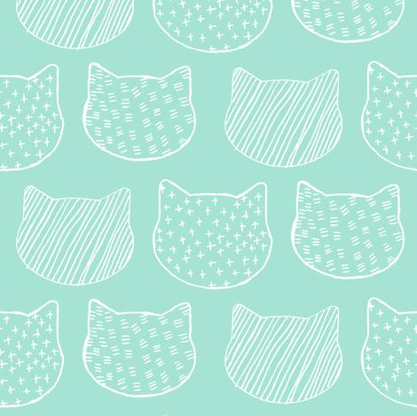 Cat Sketch in Aqua fabric by emilysanford on Spoonflower - custom fabric