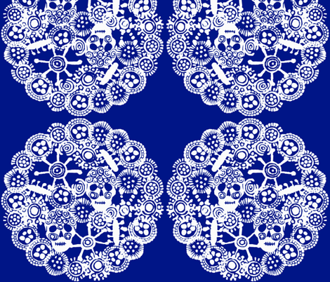 •WHEEL•  Blueberry and White  fabric by atelierbb on Spoonflower - custom fabric