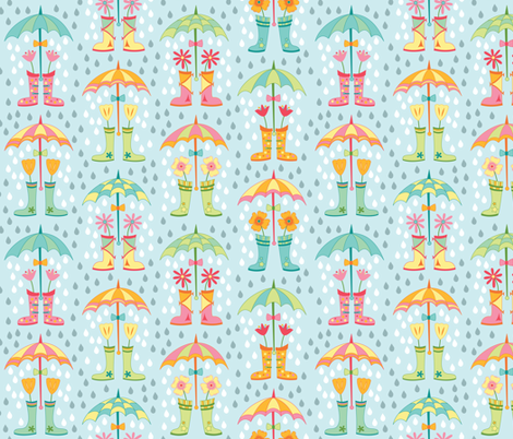 Raindrops and Rainboots (April) fabric by brendazapotosky on Spoonflower - custom fabric