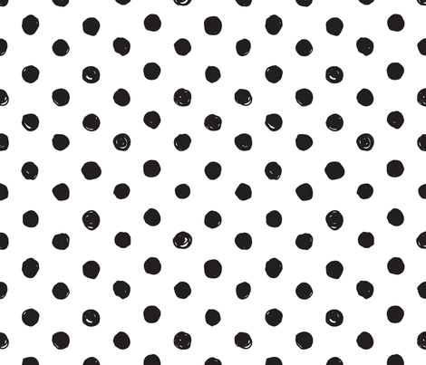 Black and White Scribble Dot - Medium fabric by acdesign on Spoonflower - custom fabric