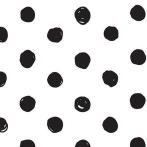 Black and White Scribble Dot - Medium