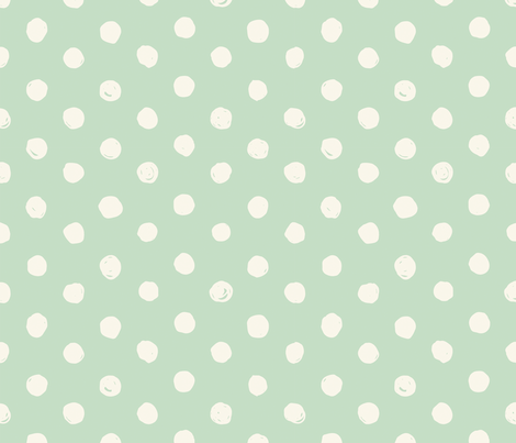 Mint & Cream Scribble Dot - Medium fabric by acdesign on Spoonflower - custom fabric