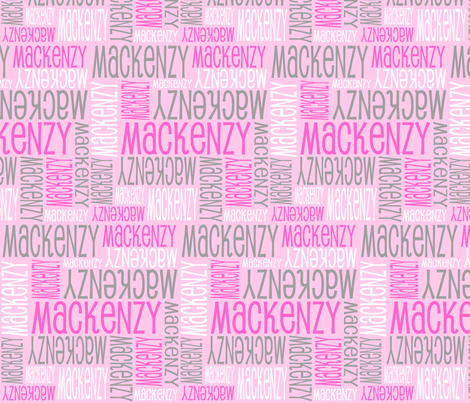 Personalised Name Design - Pink White Grey fabric by shelleymade on Spoonflower - custom fabric