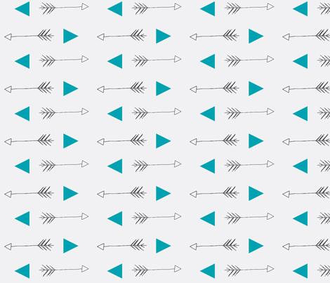 Arrow and Triangle Teal fabric by ajoyfulriot on Spoonflower - custom fabric