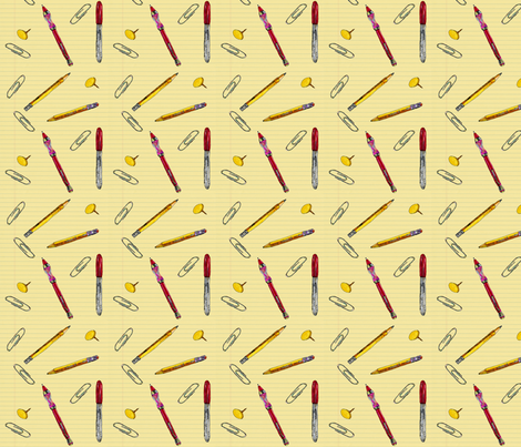 Office Supplies on Paper fabric by lucy_autrey_wilson on Spoonflower - custom fabric