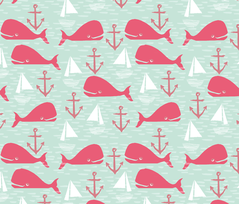 Anchors Away!  Whales // pink and green whale nautical fabric cute whales ocean sailbaots fabric by andrea_lauren on Spoonflower - custom fabric