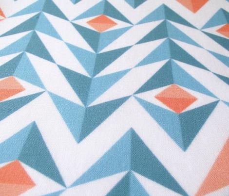 Blue and orange geometric feathers