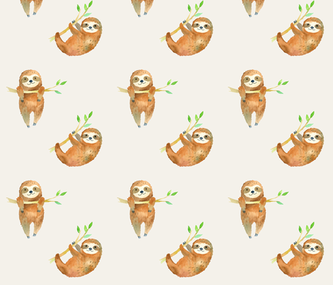 Baby Sloths fabric by hipkiddesigns on Spoonflower - custom fabric