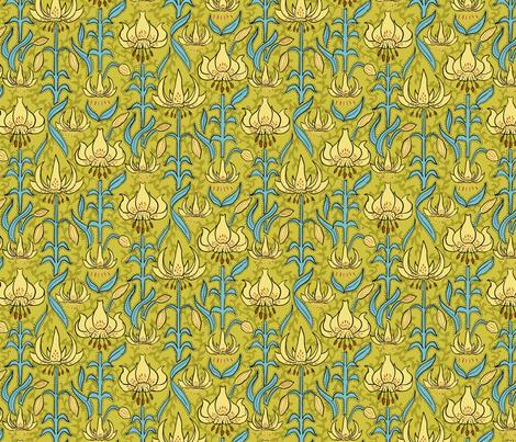 Art Nouveau Lilies fabric by vinpauld on Spoonflower - custom fabric