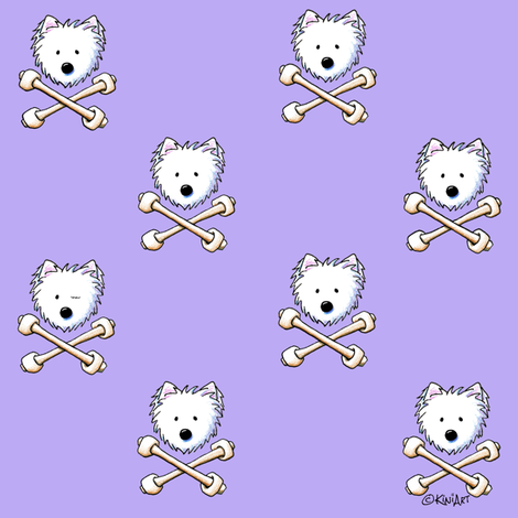 Small Playful Torrid Westies Purple fabric by kiniart on Spoonflower - custom fabric