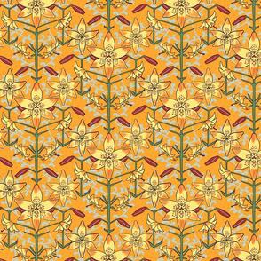 Art Nouveau Lilies Orange and Yellow