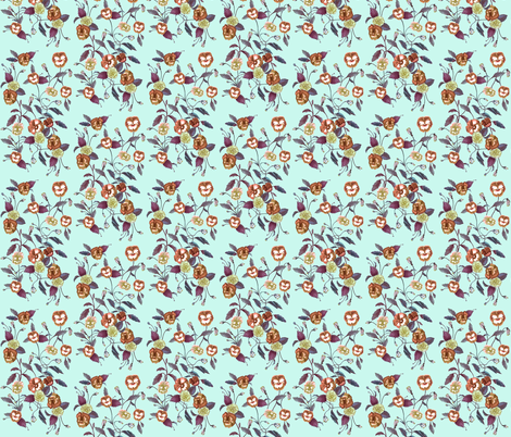 Pansy Autumn on Seafoam Blue fabric by thistleandfox on Spoonflower - custom fabric