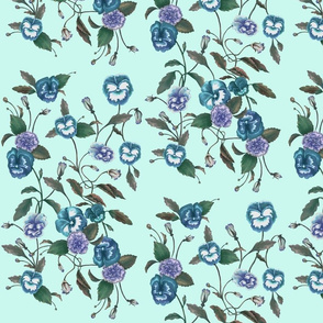Pansy Blue on Seafoam