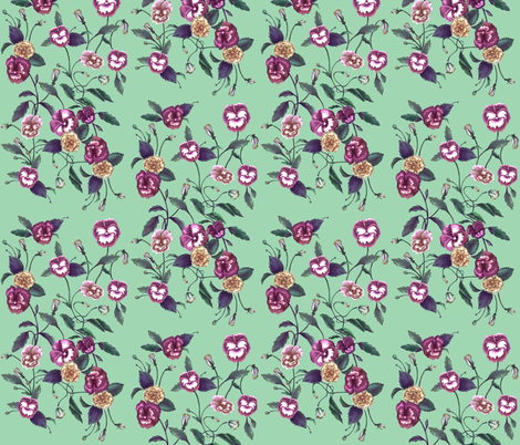 Pansy Purple on Peppermint fabric by thistleandfox on Spoonflower - custom fabric