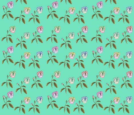 Pansy Meadow on Mint fabric by thistleandfox on Spoonflower - custom fabric