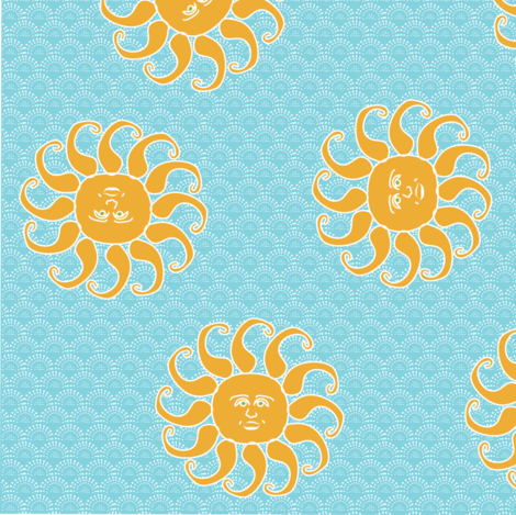 Happy Sun Scatter Print  fabric by vanillabeandesigns on Spoonflower - custom fabric
