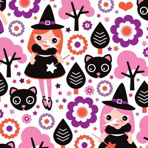 Little kittens and witch halloween pattern