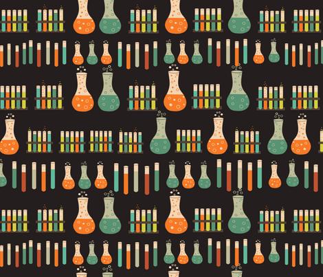 chemistry lab on black fabric by kociara on Spoonflower - custom fabric