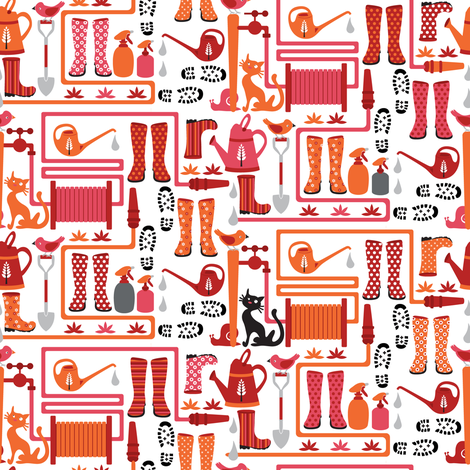 Wellies for the garden fabric by ebygomm on Spoonflower - custom fabric