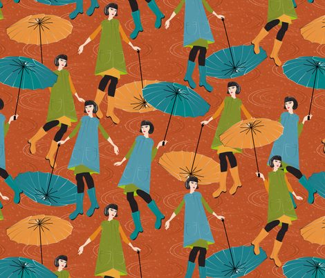 rain on orange fabric by kociara on Spoonflower - custom fabric