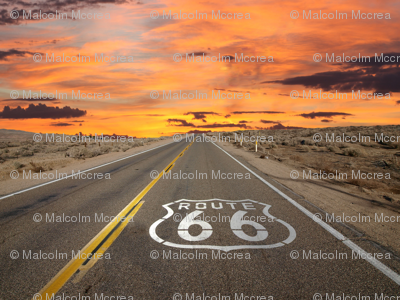 Route 66 Fabric Lecarver Spoonflower