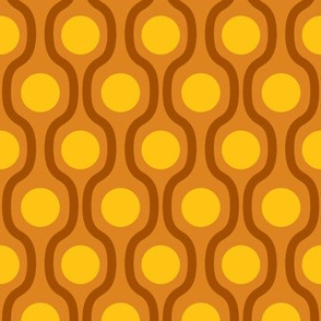 waves and dots brown yellow